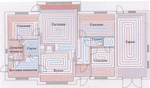 Схема теплых полов дома