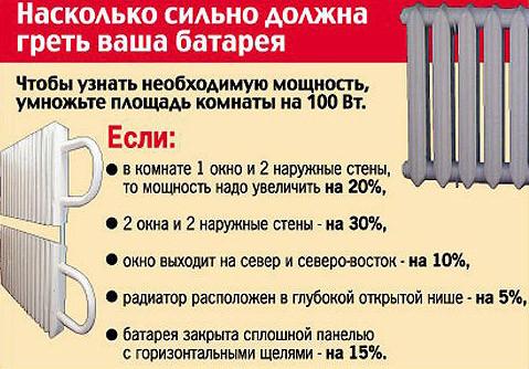 Расчет необходимой мощности радиатора
