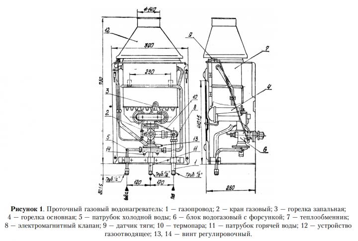 Схема проточного газового