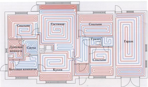 Схема теплых полов дома.