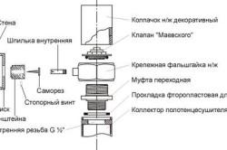 Схема монтажа полотенцесушителя.