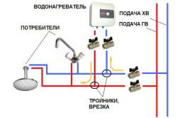 Схема включения проточного водонагревателя