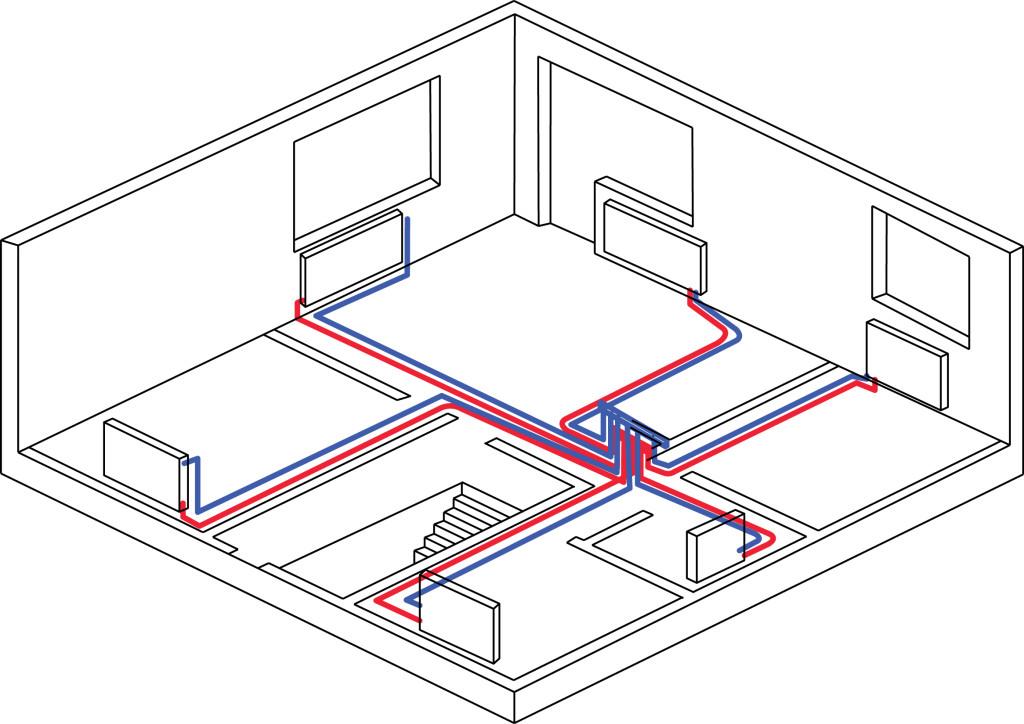 Схема разводки трубопровода системы отопления двухтрубная фото 753