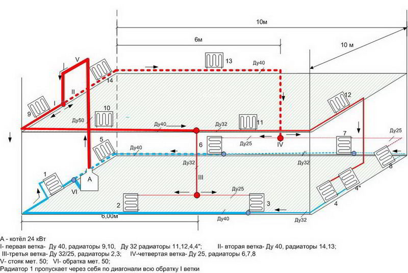 Схема отопления двухэтажного