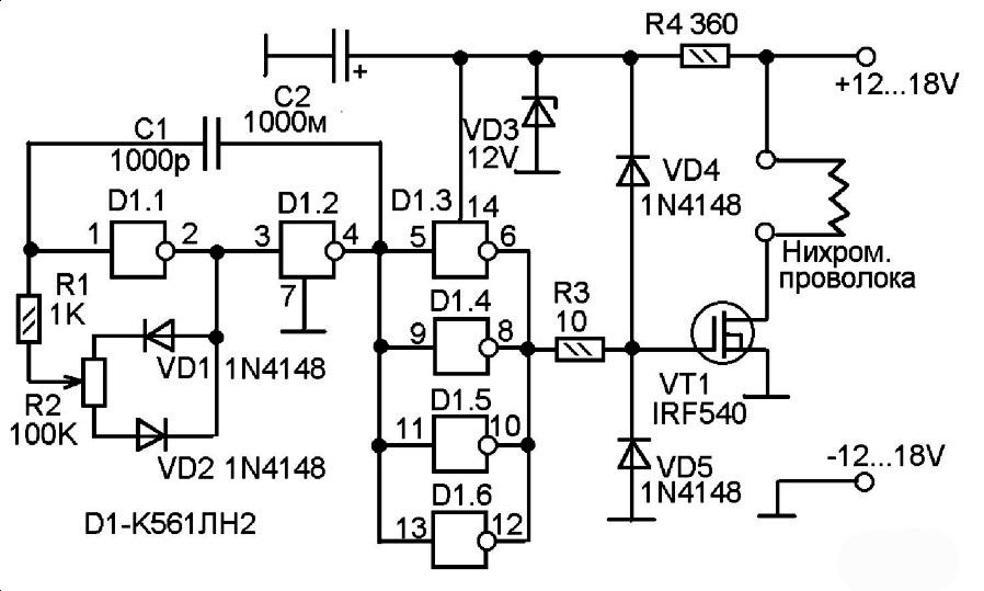 Схема электронной части станка