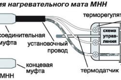 Схема подключения нагревательного мата с двухжильным кабелем