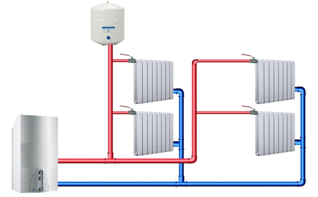 Рис. 2. Схема отопления с нижней разводкой