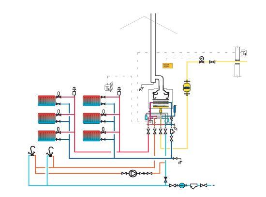 Схема системы отопления дома с