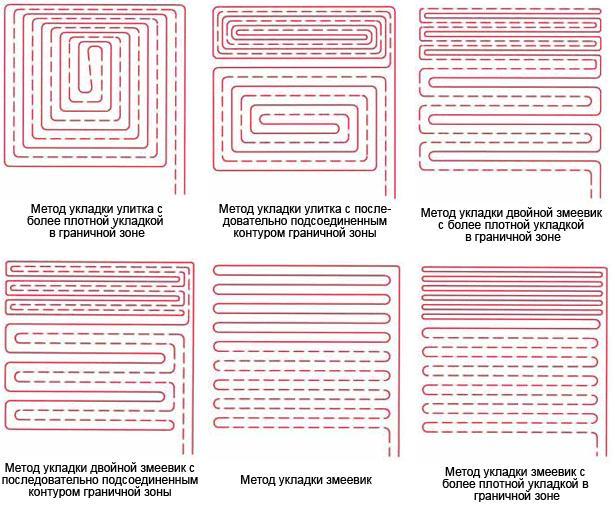 Схемы укладки нагревательных матов