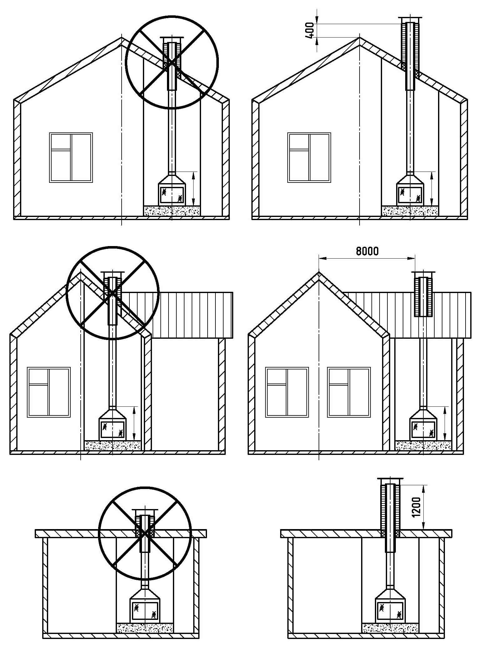 схема дымохода из сендвичные трубы