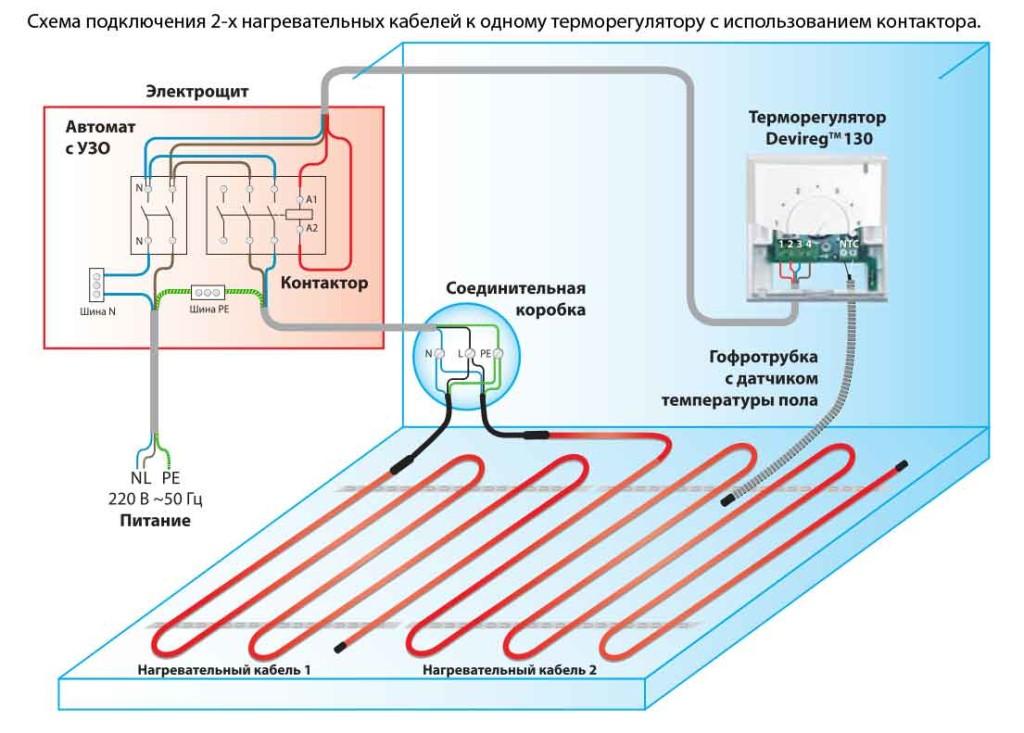Теплые полы водяные электрическая схема подключения