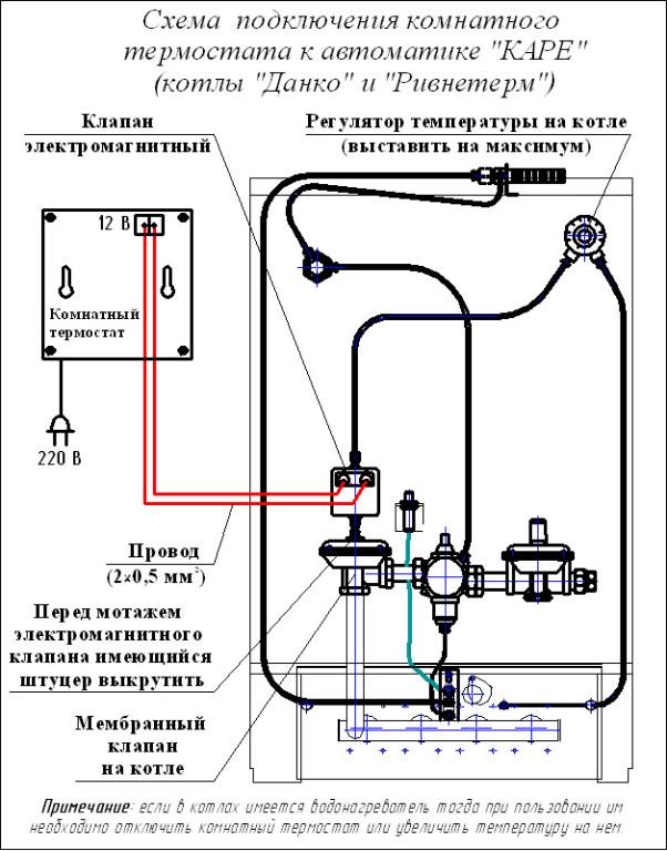 Схема подключения механического терморегулятора 750