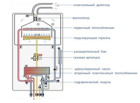 Схема настенного двухконтурного газового котла фото 663